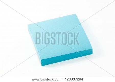 the blue notepaper on the white background.