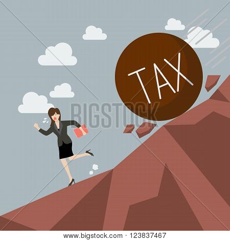 Business woman running away from heavy tax that is rolling down to her. Business concept
