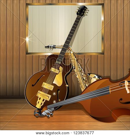 Vector illustration of a jazz musical instruments on a wooden background with frame bass jazz guitar saxophone. There is a place for printing looks great white text over the image.