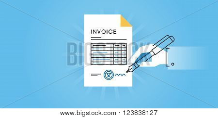 Flat line design website banner for an invoice, online invoice generator, invoice software, invoice template. Modern vector illustration for web design, marketing and print material.