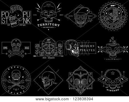 Set of Vector vintage skull labels badges insignia emblem logo sign identity logotype poster design elements. Black and white thin line illustration