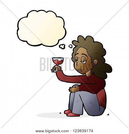 cartoon unhappy woman with glass of wine with thought bubble