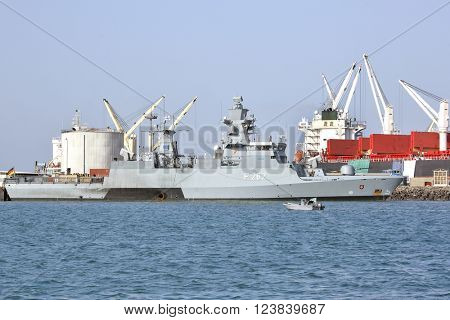 GULF OF ADEN, REPUBLIC OF DJIBOUTI, FEBRUARY 08, 2016: EU WARSHIP F-262, German multipurpose corvette, (Braunschweig-class) in the port of Djibouti
