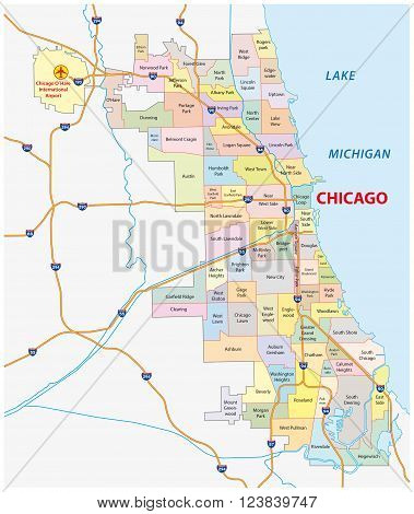 roads and city share map of chicago