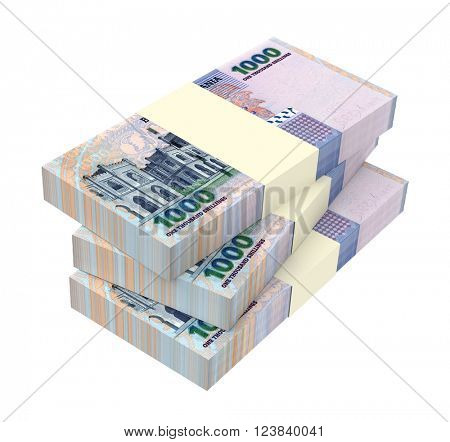 Tanzanian shilling bills isolated on white background. 3D illustration.