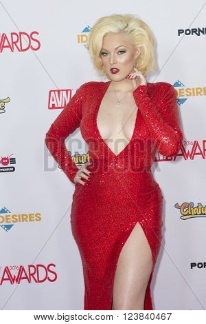 LAS VEGAS - JAN 23 : Adult film actress Jenna Ivory attends attends the 2016 Adult Video News Awards at the Hard Rock Hotel & Casino on January 23 2016 in Las Vegas Nevada.