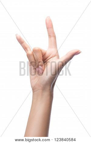 Hand In I Love You,love Hand Sign,hand Language, Isolated On White With Clipping Path Included
