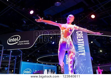 LAS VEGAS - JAN 06 : The Intel booth at the CES show held in Las Vegas on January 06 2016 CES is the world's leading consumer-electronics show.