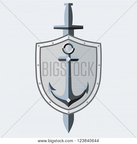 Anchor shield sword. Logo symbol tattoo. Sleek style. Vector Image.