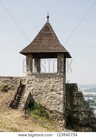 Turret in Trencin castle Slovak republic. Travelling theme.