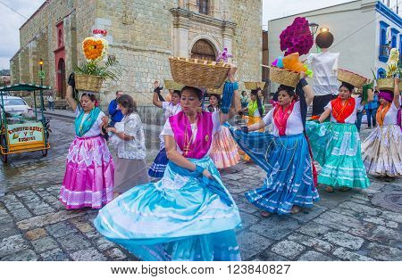 OAXACA MEXICO - NOV 02 : Unknown participants on a carnival of the Day of the Dead in Oaxaca Mexico on November 02 2015. The Day of the Dead is one of the most popular holidays in Mexico