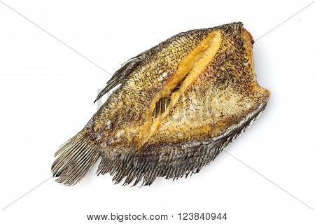 Fried Trichogaster pectoralis cut in stripes before fry for crisp, 'Sa-lid' fish thai food isolated on white background.
