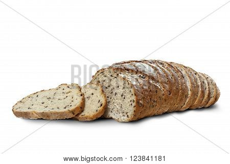 Sliced rye bread with linseed isolated on white background. With clipping path