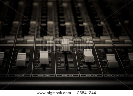 selective focus the sound music mixer background.