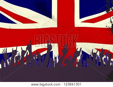 Audience happy reaction with the British Union Jack Flag flag background