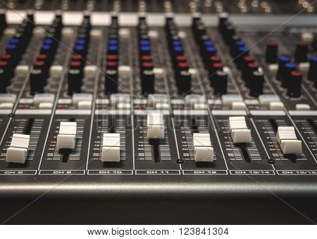 selective focus the sound mixer music background.