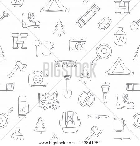 Seamless vector pattern of the tourist icons on a white background. Excellent background. Elements for design. Camping. Set to survive in the forest.
