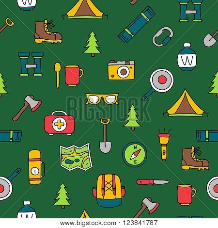 Seamless vector pattern of the tourist icons on a dark green background. Excellent background. Elements for design. Camping. Set to survive in the forest.