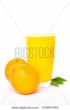Navel orange juice and orange with leaves isolated on white background