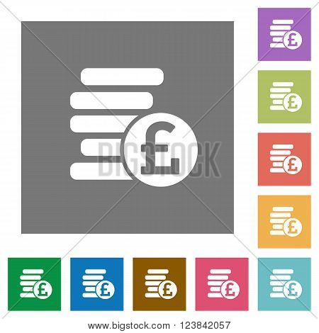 Pound coins flat icon set on color square background.