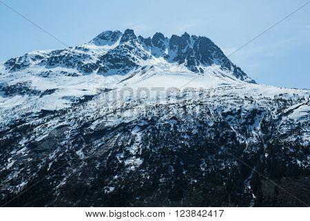 A mountain peak along Alaska's White Pass and Yukon Route