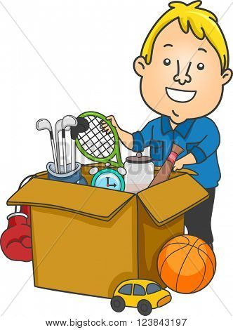 Illustration of a Man Packing Used Sports Equipment to be Donated