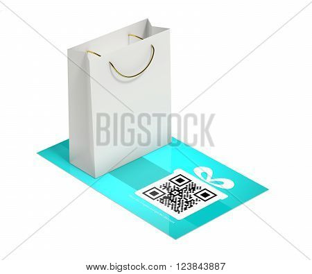 discount card with shopping bag isolated over white