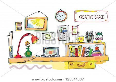 Creative place for work banner - vector illustration