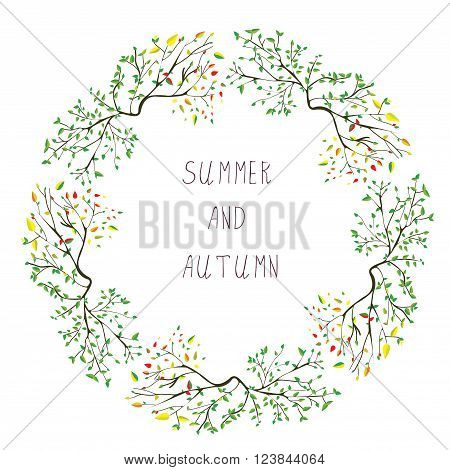 Summer and autumn frame - seasons change vector illustration