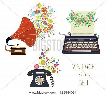 Vintage set - gramophone typewriter and phone - floral nice design of vector illustration