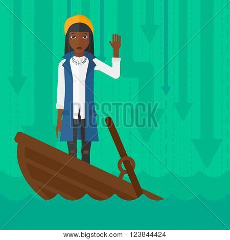 Business woman standing in sinking boat.