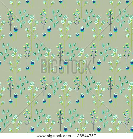 Spring wild flower khaki millefleurs field seamless pattern. Floral tender fine summer vector pattern on green background. For fabric textile prints and apparel.