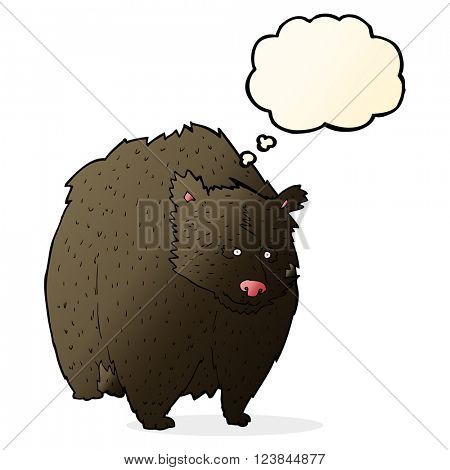 huge black bear cartoon with thought bubble