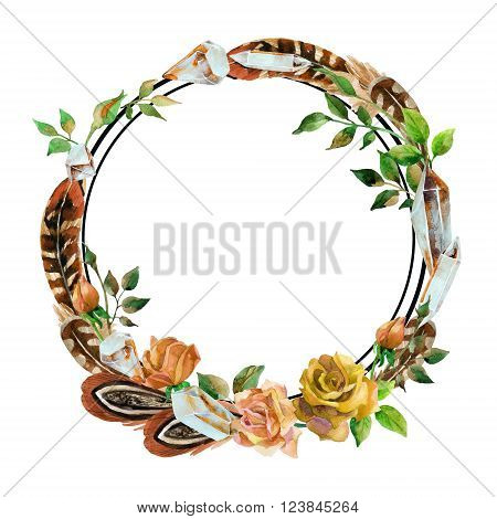 Watercolor crystal gems feathers and flowers wreath. Hand painted illustration with minerals isolated on white background for your design in boho style.