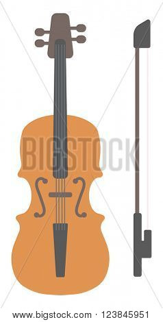Wooden violin with bow