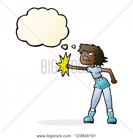 cartoon woman punching with thought bubble