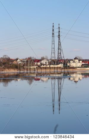 the high voltage reflection in the river