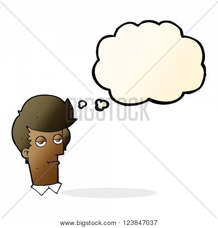 cartoon bored man with thought bubble