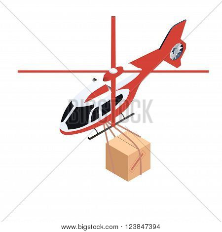 Isometric vector icon of helicopter delivering cargo