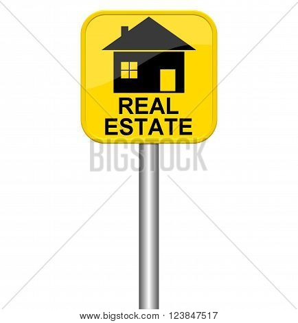 Yellow isolated sign shows Real Estate SYMBOL