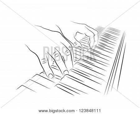 Playing piano illustration. Hands on digital piano keyboard.