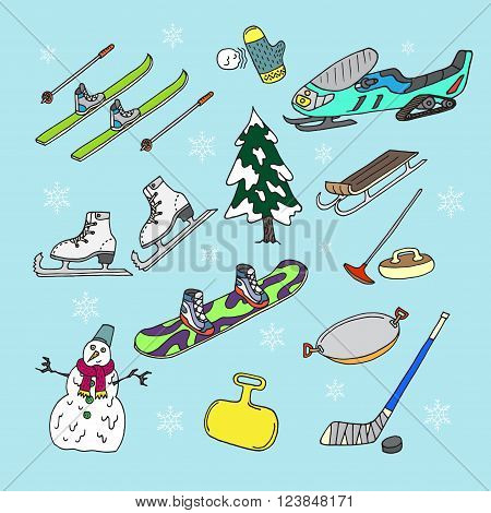Winter games on blue background. Doodle set. Isolated. Vector