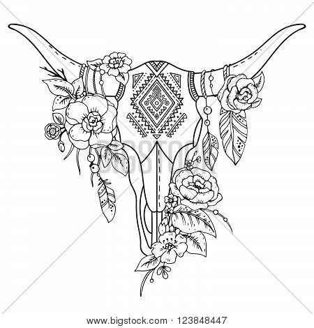 Decorative Indian Bull Skull With Ethnic Ornament,flowers And Leaves.