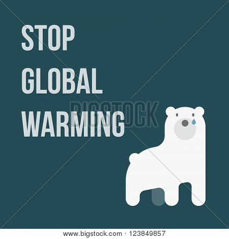 illustration of polar bear showing global warming, Stop Global Warming
