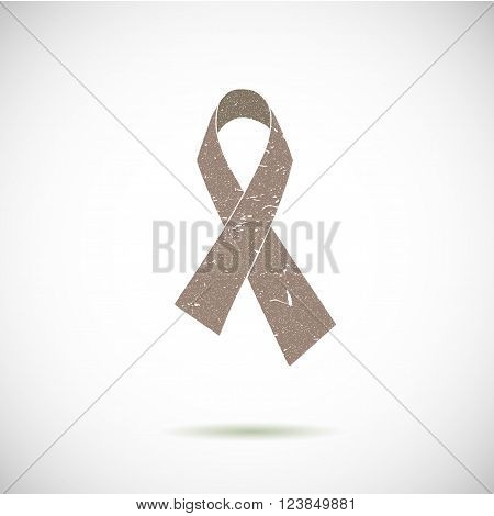 Prostate cancer ribbon awareness on grey background. Rubber stamp.