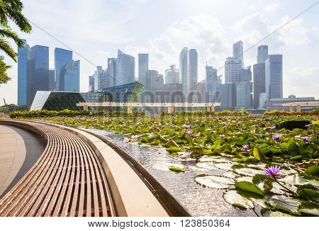 SINGAPORE, SINGAPORE - FEBRUARY 17: Daytime view of the Singapore CBD skyskrapers with beautiful lilly pond on the foreground on February 17, 2016 in Singapore.