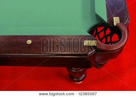 Mesa de billar con una cuadrícula de cerca.