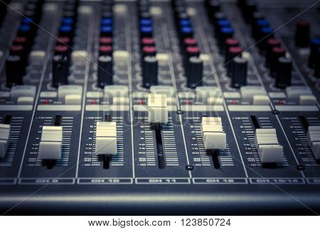 selective focus the sound music mixer background. ** Note: Shallow depth of field