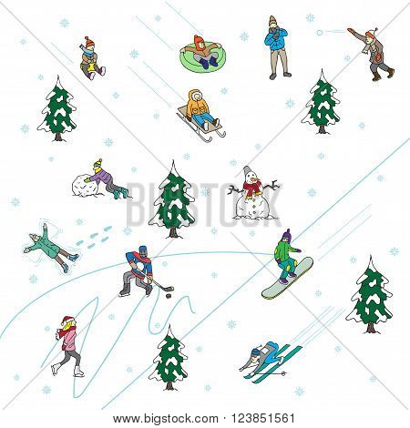 Winter Games in the park. Scenes. Isolated