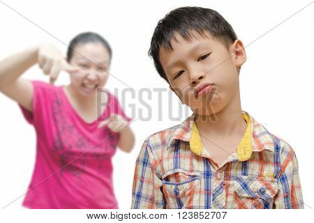Young asian boy being scold by her mother